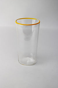 "6"" Clear Cup with Yellow Lip Wrap"