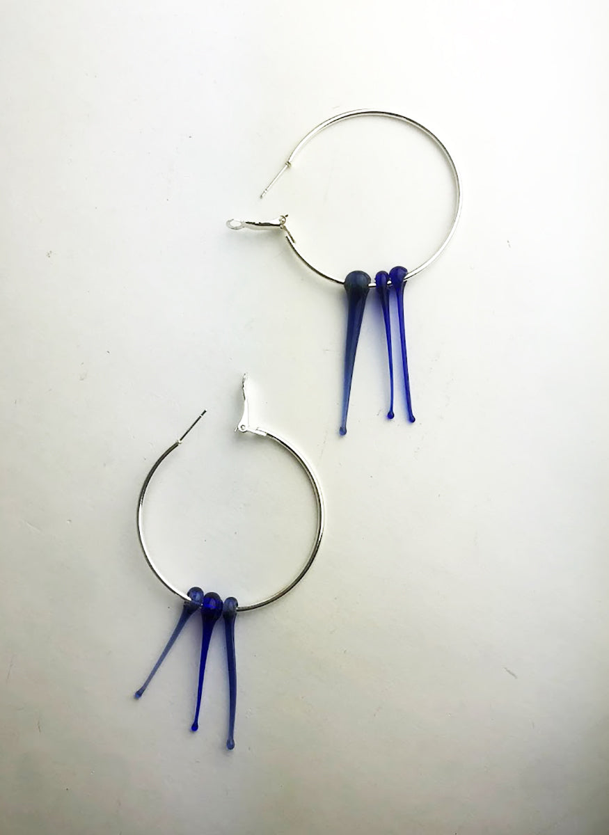 Silver Hoop Earrings with Blue Spikes (2LT420)