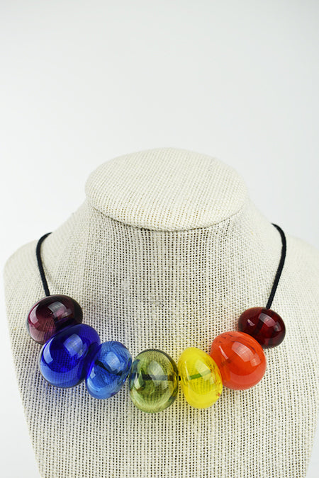 Rainbow blown bead necklace (2LT520)