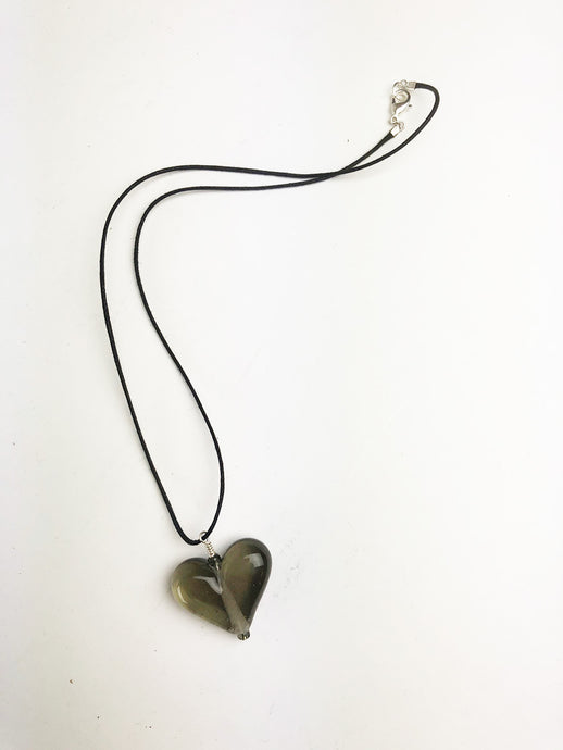 Steel Gray Transparent Heart Necklace (2PAZ120)