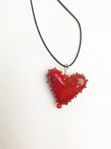 Red Dotted Heart Necklace (2PAZ220)