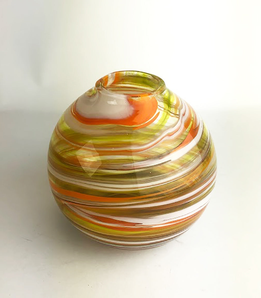 Orange Yellow White Blown Glass Vase (3GR120)