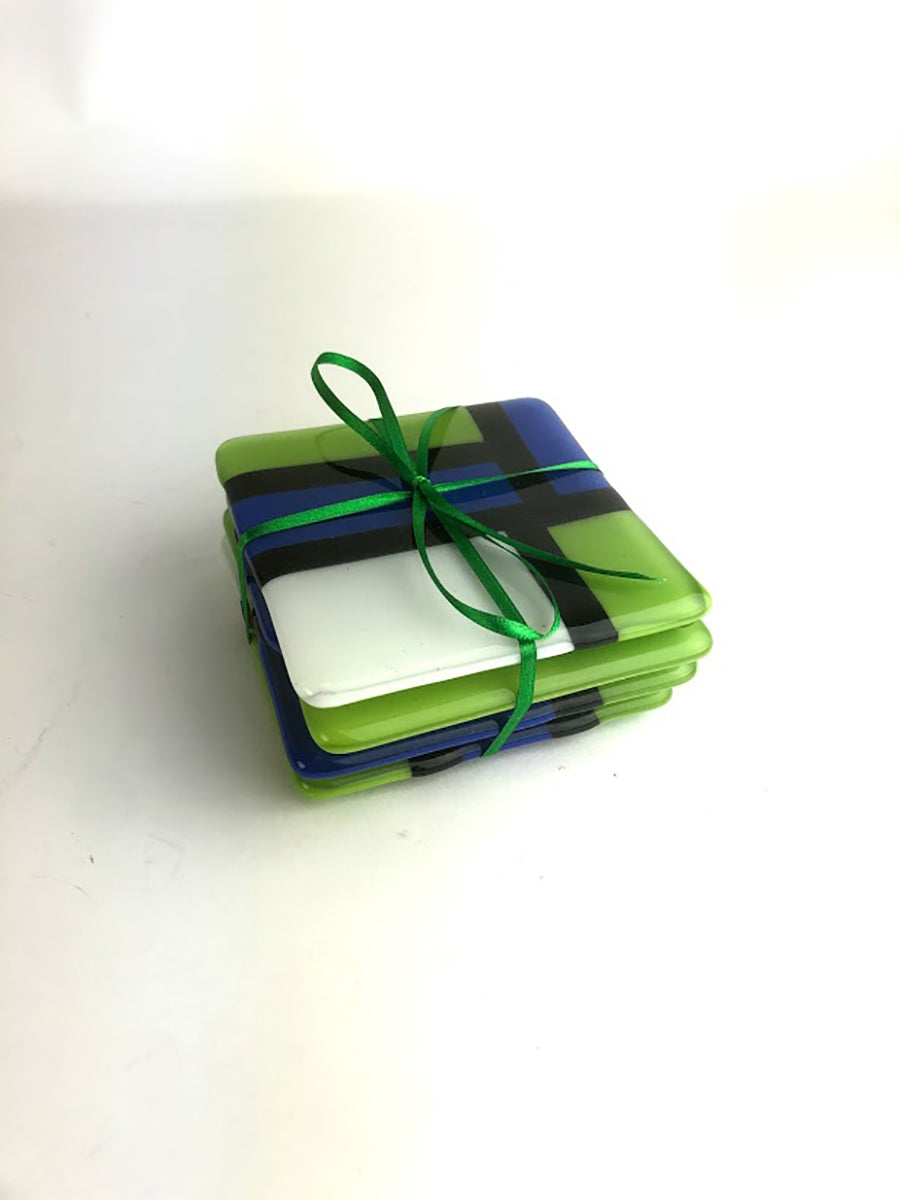 Set of Coasters Blue Green White Geometric Design (3GR420)