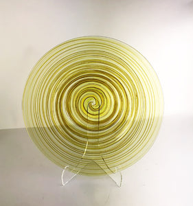 Yellow and Forest Green Glass Plate(3JM520)