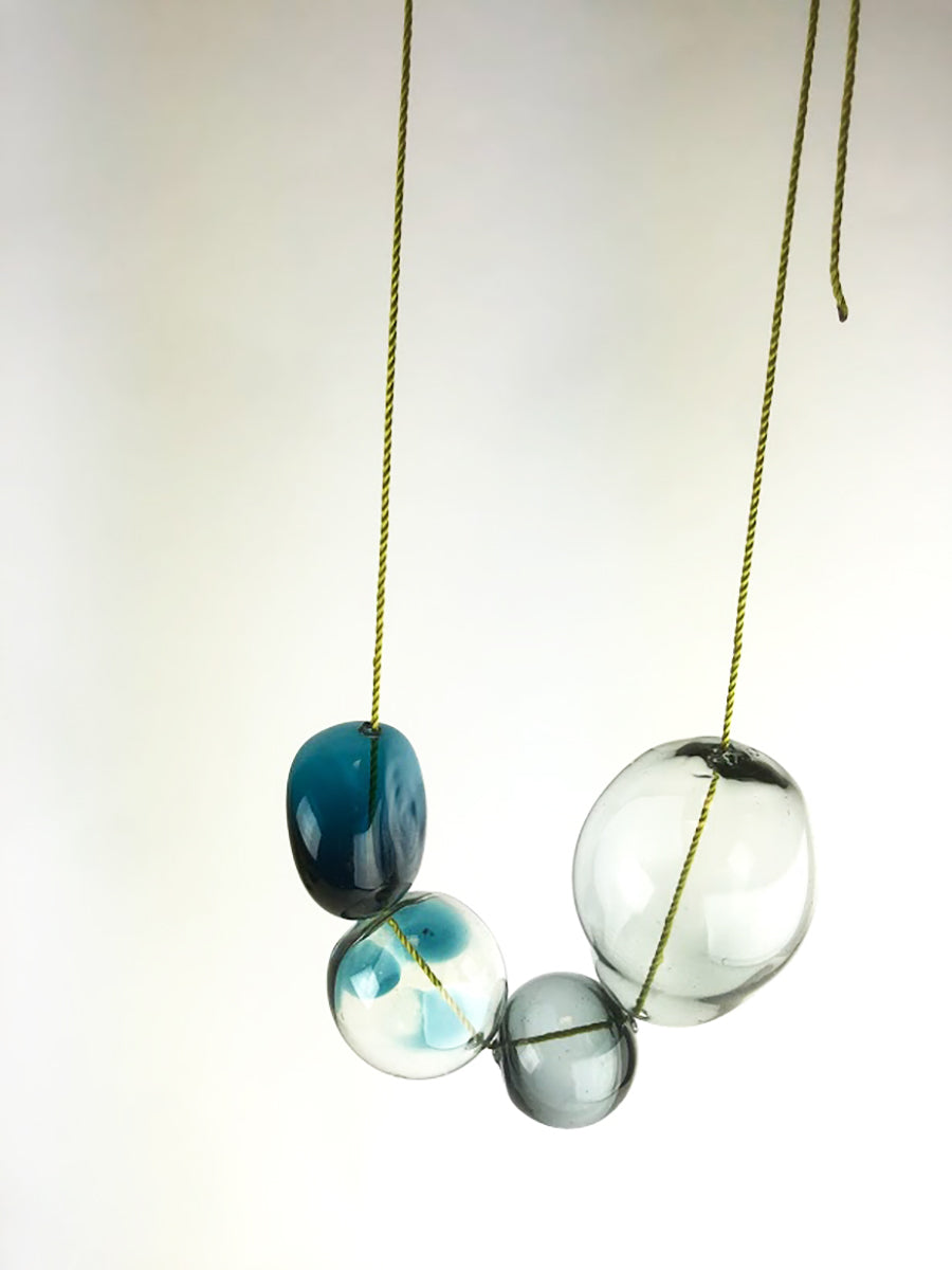 Blue Green Blown Beads Necklace (3KD120)