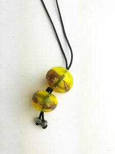Yellow Hollow Beads Necklace (3LT120)