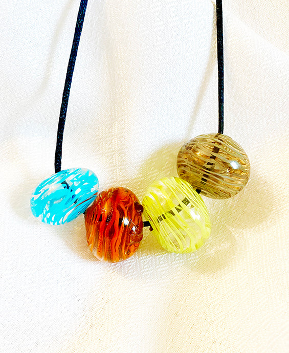 Color Swirl Blown Beads Necklace (5LT120)