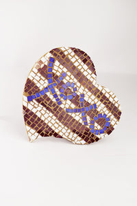 Striped  mosaic heart (6GR2912)