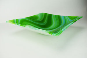 Green Spirit Glass Slumped Square Bowl (6JB217)