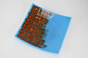 Blue and Orange Grid Plate (6YG219)
