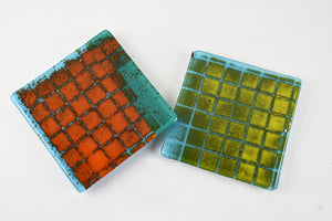 Pair of Fused Grid coasters (6YG719)