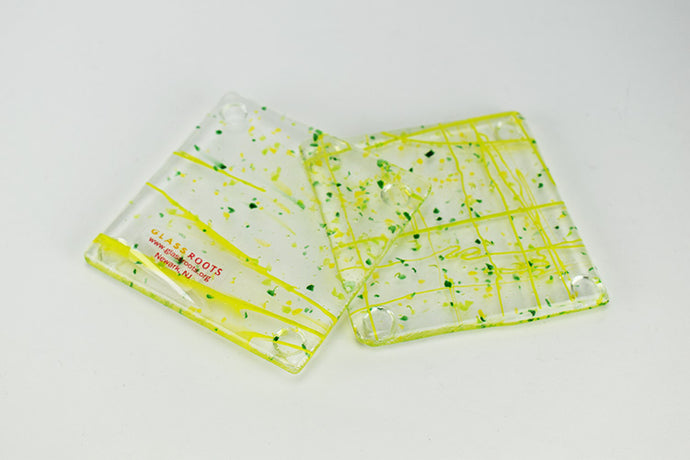 Set of two Green Confetti Coasters