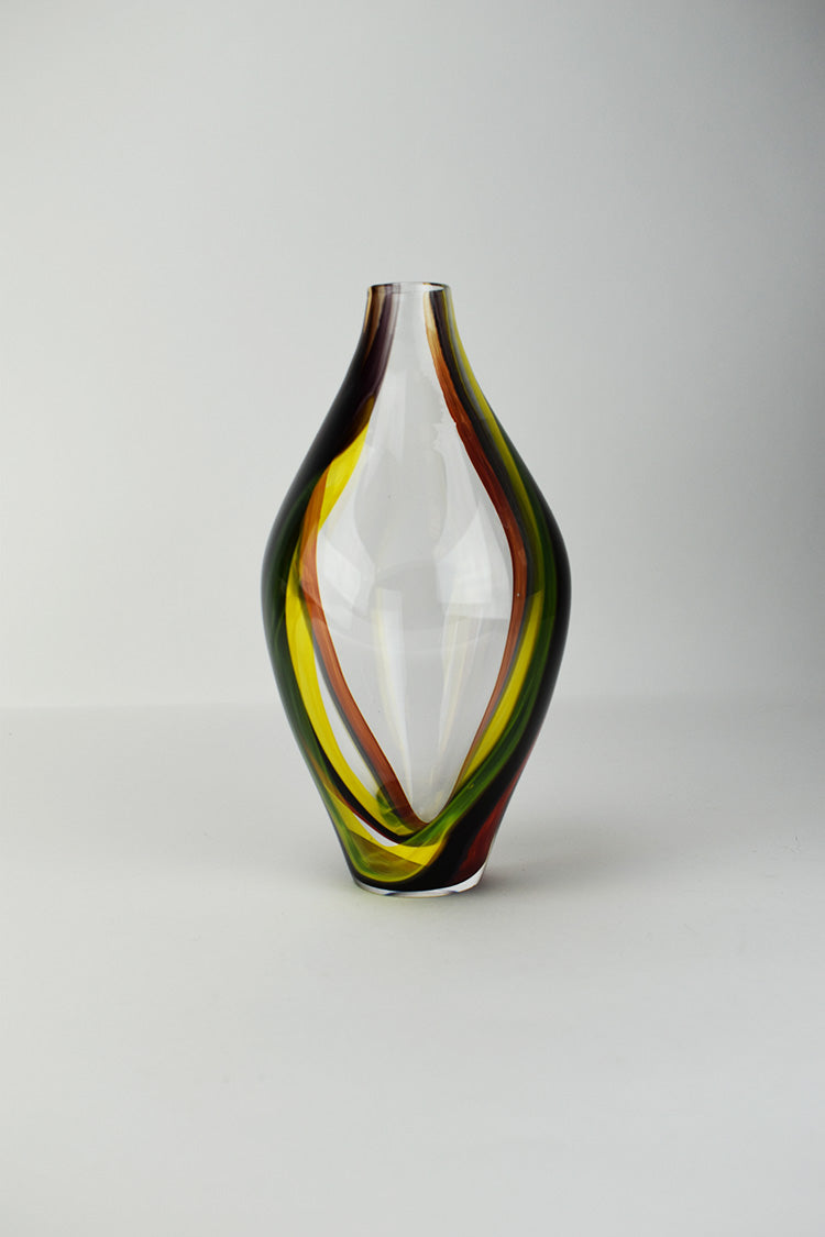 Clear Cherry Yellow Black Wrap Vase (9JM119)
