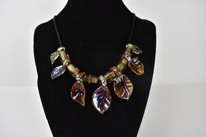 glass leaves necklace metalic amber