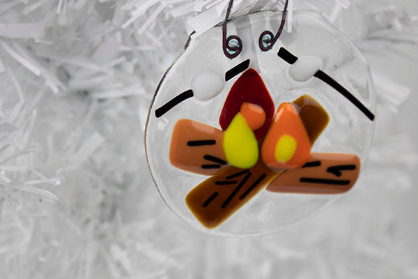 Toasting marshmallows campfire fused glass ornament (12GR919)