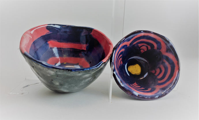 GlassRoots' Student Work Blue and Rose Ceramic Bowl Set by Karmin