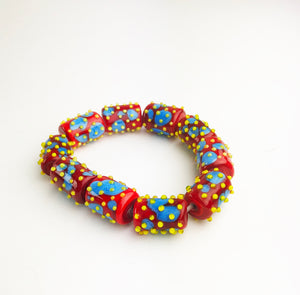 Red Blue Yellow Bead Bracelet (1PAZ120)