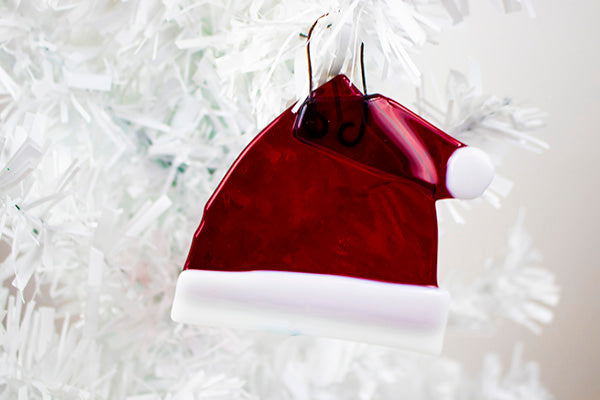 Santa hat fused glass ornament (12GR1219)