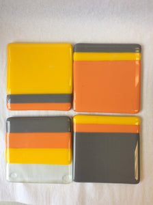 Gray Orange Grey Yellow Coasters Set of 4 (9AR519)