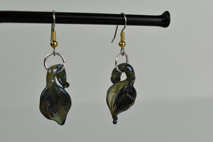 Green metallic glass leaf earrings (11LT1419)