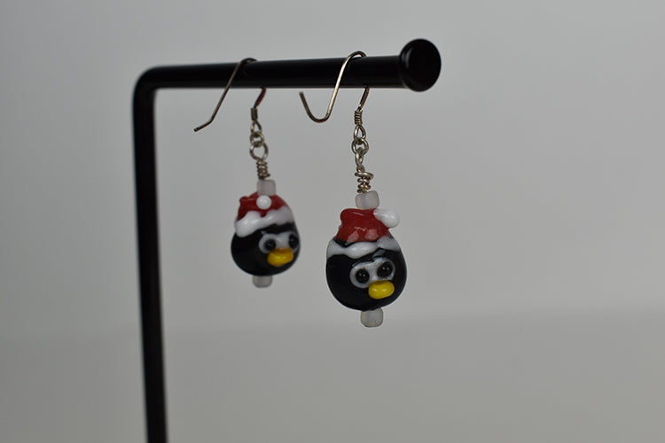 Penguin glass bead earrings (12AR1518)