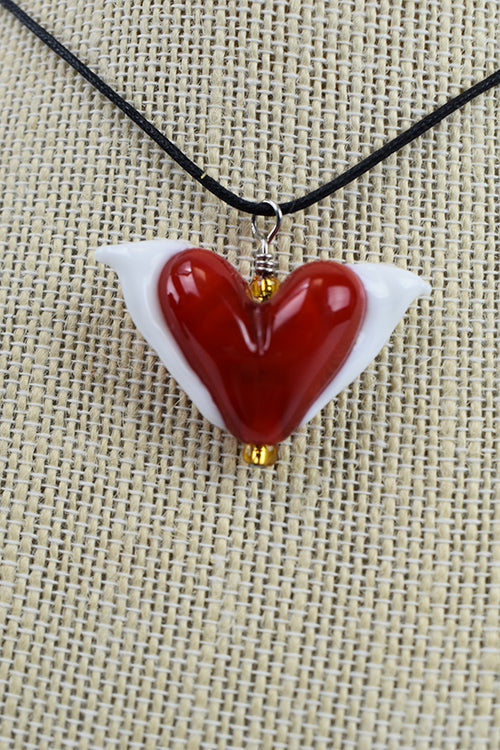Red Winged Heart Necklace with slipknot (2PAZ716)