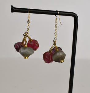 Purple pink and grey faceted bead earrings (1KD3617)