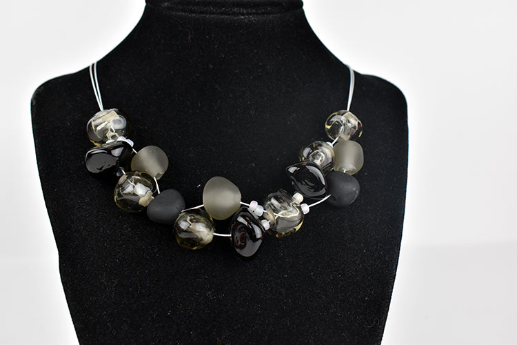 GlassRoots signature necklace black and grey (9LT119)