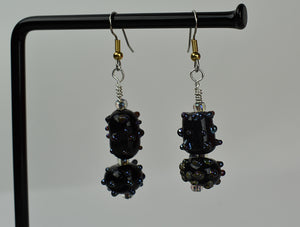Black glass bead earrings with metallic spikes (11LT1619)