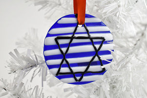 Blue stripe Star of David fused glass ornament (10YG1713)