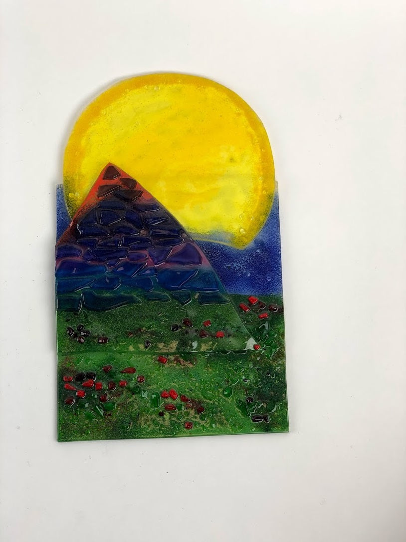 Sun over landscape fused tile 6SC2018