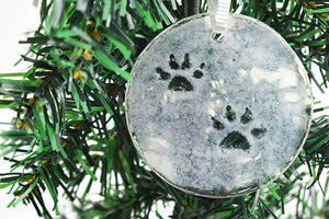 Paw prints in snow fused glass ornament (12GR2419)