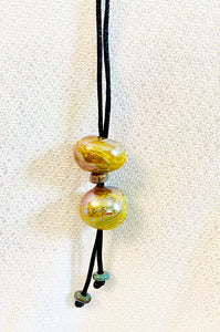 Amber and Green Iridescent Lariat Style Necklace (5LT520)