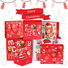 Load image into Gallery viewer, 1pc Merry Christmas Kraft Paper Gift Bags Santa Claus Xmas Tree Packing Bags Happy New Year Christmas Candy Bags