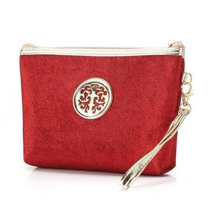 Makeup Bag | Glitter Cosmetic Case- Red