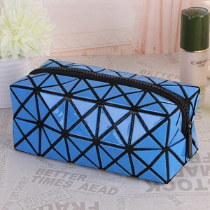 Travel Makeup Bag | Diamond Cosmetic Case- Blue