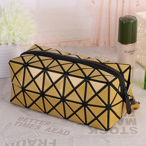 Travel Makeup Bag | Diamond Cosmetic Case- Yellow