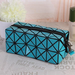 Travel Makeup Bag | Diamond Cosmetic Case- Sky Blue