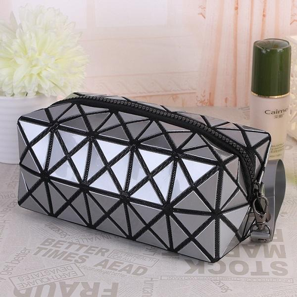 Travel Makeup Bag | Diamond Cosmetic Case- Silver