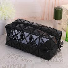 Load image into Gallery viewer, Travel Makeup Bag | Diamond Cosmetic Case- Black