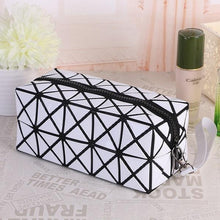 Load image into Gallery viewer, Travel Makeup Bag | Diamond Cosmetic Case- White