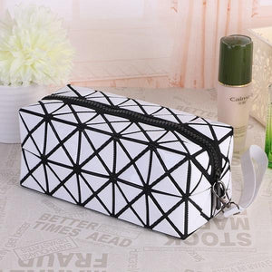 Travel Makeup Bag | Diamond Cosmetic Case- White