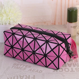 Travel Makeup Bag | Diamond Cosmetic Case- Pink