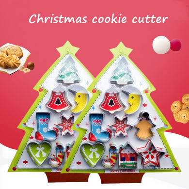 10pcs/set Christmas Cookie Cutter Stainless Steel Biscuit Mold Fondant Cutter Cooking Tools Christmas Theme Metal Cutters Mould