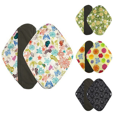 10pcs  Flower Printed Washable Pad Cloth Menstrual Bamboo Reusable Sanitary Pad