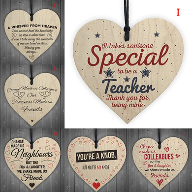 1Pc Xmas Wooden LOVE Christmas Chip Hanging Gift Plaque Pendant Heart Shape Letter Friendship Wine Bottle Decor Pendant Tags