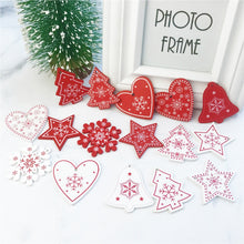 Load image into Gallery viewer, 10pcs New Year Natural Wood Christmas Tree Ornament Wooden Hanging Pendants Gifts Snow Elk Christmas Decora adornos de navidad