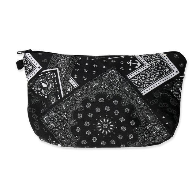 Travel Makeup Bag | Cosmetic Case | Bandana Black- Default Title