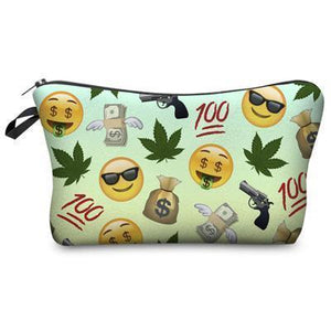 Travel Makeup Bag | Cosmetic Case | Stoner Emojis- Default Title