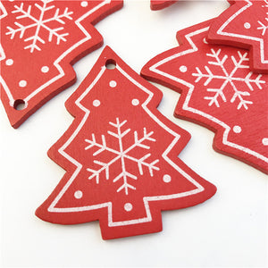 10pcs New Year Natural Wood Christmas Tree Ornament Wooden Hanging Pendants Gifts Snow Elk Christmas Decora adornos de navidad